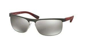 Prada Sport PS 54QS DG11I2 LIGHT GREY MIRROR SILVERGUNMETAL RUBBER/STEEL RUBBER